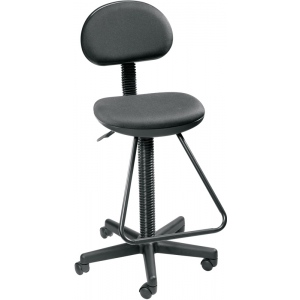 """Alvin® Black Economy Drafting Height Chair; Arm Rest Included: No; Color: Black/Gray; Foot Ring Included: Yes; Height Range: 24"""" - 29"""", Under 24""""; Seat Material: Fabric; (model DC204), price per each"""