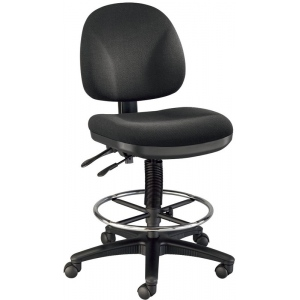 "Alvin® Prestige Artist/Drafting Chair 18"" Chrome Foot Ring; Arm Rest Included: No; Color: Black/Gray; Foot Ring Included: Yes; Height Range: 24"" - 29"", 30"" & Up; Seat Material: Fabric; (model DC310-40), price per each"