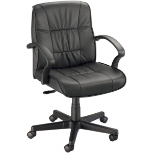 "Alvin® Art Director Executive Leather Chair Office Height; Arm Rest Included: Yes; Color: Black/Gray; Foot Ring Included: No; Height Range: Under 24""; Seat Material: Leather; (model CH777-90), price per each"