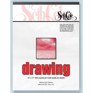 "Seth Cole 14"" x 17"" Drawing Paper Pad; Color: White/Ivory; Format: Pad; Quantity: 24 Sheets; Size: 14"" x 17""; Weight: 80 lb; (model SC64B), price per 24 Sheets pad"