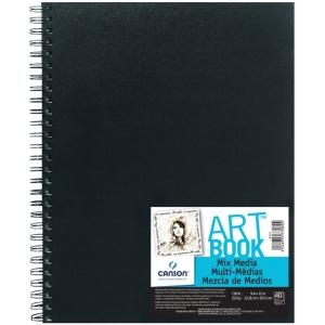 "Canson® ArtBook™ 9"" x 12"" Mix Media Wirebound Book: Wire Bound, White/Ivory, Book, Black/Gray, 40 Sheets, 9"" x 12"", Mix Media, 138 lb, (model C100516110), price per each"