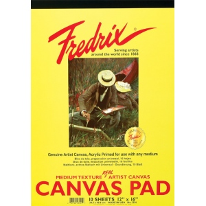 "Fredrix® 12"" x 16"" White Canvas Pad; Color: White/Ivory; Format: Pad; Size: 12"" x 16""; (model T3501), price per pad"