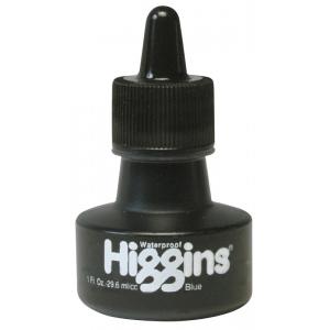 Higgins® Waterproof Color Drawing Ink Blue: Blue, Bottle, Dye-Based, 1 oz, Waterproof, (model SN44108), price per each