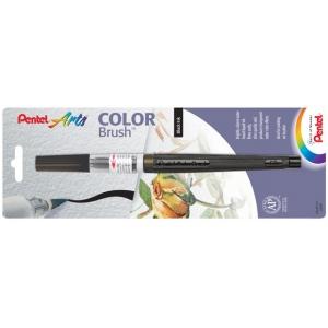 Pentel® Color Brush™ Pen Black; Color: Black/Gray; Ink Type: Dye-Based, Water-Based; Refillable: Yes; Tip Type: Brush Nib; (model GFLBP101), price per each