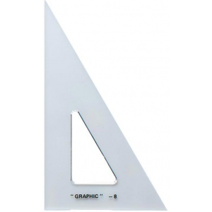 "Alvin® 8"" Academic Transparent Triangle 30°/60°: 30/60, Clear, Polystyrene, 8"", Triangle, (model S1390-8), price per each"