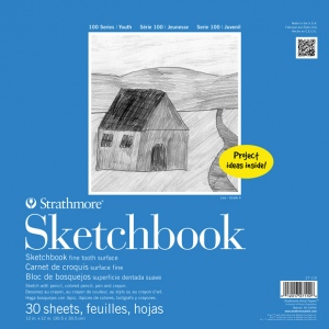 "Strathmore® 100 Series 12"" x 12"" Wire Bound Sketchbook: Wire Bound, White/Ivory, Book, 30 Sheets, 12"" x 12"", Sketching, (model ST27-110-1), price per each"