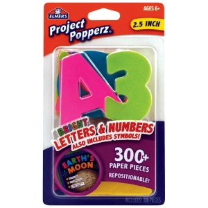 "Elmer's® Project Popperz™ Letters/Numbers/Symbols Bright; Color: Multi; Size: 2 1/2""; (model E3068), price per each"