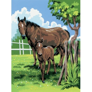 "Royal & Langnickel® Painting by Numbers™ 8 3/4 x 11 3/8 Junior Small Set Mare & Foal; Board Size: 8 3/4"" x 11 3/8""; (model PJS21), price per set"