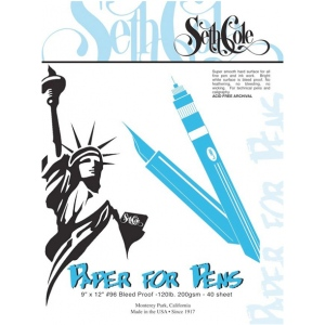 "Seth Cole 9"" x 12"" Premium Paper For Pens Pad: White/Ivory, Pad, 40 Sheets, 9"" x 12"", Smooth, 80 lb, (model SC96), price per 40 Sheets pad"