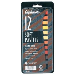 Alphacolor® Earth Tones Soft Pastels 12-Color Set: Multi, Stick, Soft, (model QT145011), price per set
