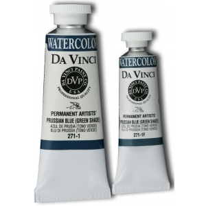Da Vinci Artists' Watercolor Paint 15ml Prussian Blue Green Shade; Color: Blue; Format: Tube; Size: 15 ml; Type: Watercolor; (model DAV271-1F), price per tube