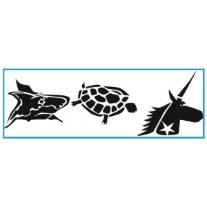 "Paasche ST-2 Tattoo Stencil: 3"" X 10"", Unicorn, Turtle & Shark"