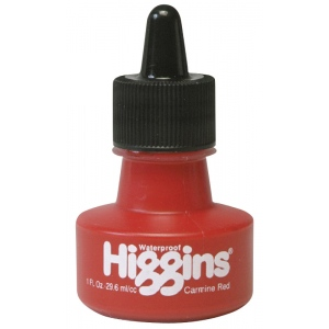 Higgins® Waterproof Color Drawing Ink Carmine Red; Color: Red/Pink; Format: Bottle; Ink Type: Dye-Based; Size: 1 oz; Waterproof: Yes; (model SN44105), price per each