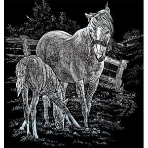 "Royal & Langnickel® Engraving Art Set Silver Foil Mare & Foal; Board Size: 8"" x 10""; Color: Metallic; (model SILF15), price per set"