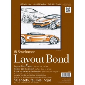 "Strathmore® 400 Series 9"" x 12"" Glue Bound Layout Bond Pad; Binding: Glue Bound; Color: White/Ivory; Format: Pad; Quantity: 50 Sheets; Size: 9"" x 12""; Type: Layout Bond; Weight: 16 lb; (model ST411-9), price per 50 Sheets pad"