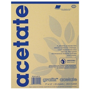 "Grafix® 11"" x 14"" Biodegradable Clear Acetate: Clear, Pad, 25 Sheets, 11"" x 14"", .005"", (model 5CL1114), price per 25 Sheets pad"