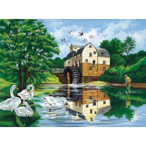 "Reeves™ Large Acrylic Painting By Numbers Set Watermill: 12"" x 15 1/2"", (model PL27), price per each"