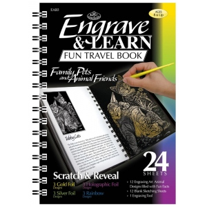 "Royal & Langnickel® Engrave & Learn Fun Travel Book Family Pets & Animal Friends; Board Size: 7"" x 8 5/8""; Color: Multi; (model EAB3), price per each"
