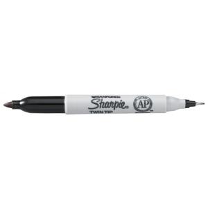 Sharpie® Twin Tip Black Permanent Marker: Black/Gray, Double-Ended, Fine Nib, (model SN32001), price per each