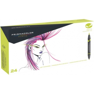 Prismacolor® Double Ended Brush Markers 24-Color Set; Color: Multi; Double-Ended: Yes; Ink Type: Alcohol-Based, Dye-Based; Tip Type: Brush Nib; (model SN1773301), price per set