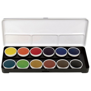 Finetec Watercolor Paint Transparent 12-Color Set: Multi, Pan, Watercolor, (model LT12), price per set
