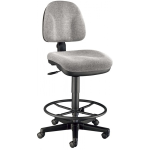 "Alvin® Medium Gray Premo Drafting Height Ergonomic Chair; Arm Rest Included: No; Color: Black/Gray; Foot Ring Included: Yes; Height Range: 24"" - 29""; Seat Material: Fabric; (model CH444-60DH), price per each"