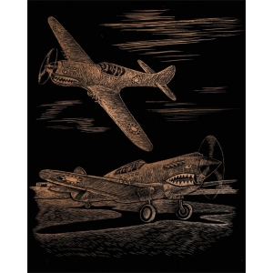 "Royal & Langnickel® Engraving Art Set Copper Foil WWII Fighter; Board Size: 8"" x 10""; Color: Metallic; (model COPF25), price per set"