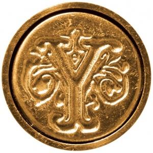 "Manuscript Initial Ceramic Mini Seal Y; Shape: Round; Size: 3/4""; (model MSH725Y), price per each"