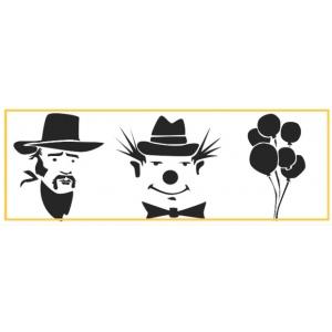 "Paasche ST-3 Tattoo Stencil: 3"" X 10"", Cowboy, Clown & Balloons"