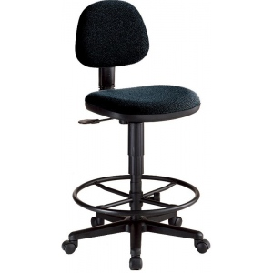 "Alvin® Black Comfort Economy Drafting Height Task Chair; Arm Rest Included: No; Color: Black/Gray; Foot Ring Included: Yes; Height Range: 24"" - 29""; Seat Material: Fabric; (model CH277-40DH), price per each"