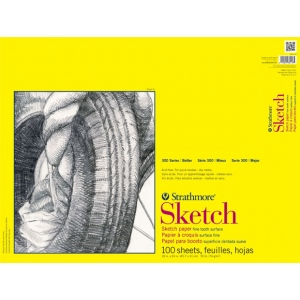 "Strathmore® 300 Series 18"" x 24"" Wire Bound Sketch Pad: Wire Bound, White/Ivory, Pad, 30 Sheets, 18"" x 24"", 50 lb, (model ST350-18), price per 30 Sheets pad"