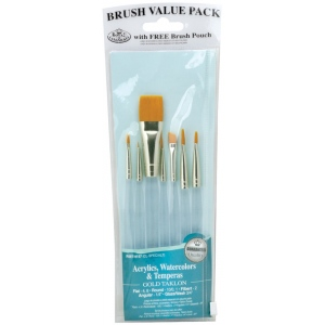 Royal & Langnickel® 9100 Series  Zip N' Close™ Teal Blue 7-Piece Brush Set 4; Length: Short Handle; Material: Taklon; Shape: Angular, Filbert, Flat, Round, Wash; Type: Acrylic, Tempera, Watercolor; (model RSET-9157), price per set