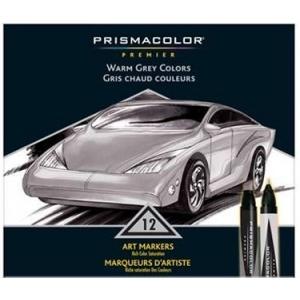 Prismacolor® Premier Art Marker 12-Color Warm Grey Set: Multi, Double-Ended, Alcohol-Based, Dye-Based, Extra Broad Nib, Fine Nib, (model BP12Q), price per set