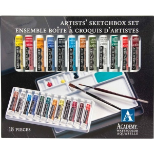 Grumbacher® Academy® Watercolor Paint 12-Color Set: Multi, Tube, 7.5 ml, Watercolor, (model GBA2012SET), price per set