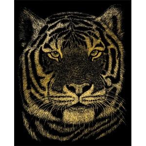 """Royal & Langnickel® Engraving Art Set Gold Foil Bengal Tiger: 8"""" x 10"""", Metallic, (model GOLF23), price per set"""