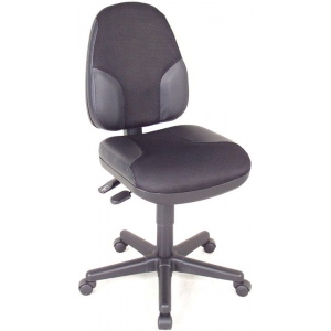 "Alvin® Black High Back Office Height Monarch Chair with Leather Accents; Arm Rest Included: No; Color: Black/Gray; Foot Ring Included: No; Height Range: Under 24""; Seat Material: Fabric, Leather; (model CH555-95), price per each"