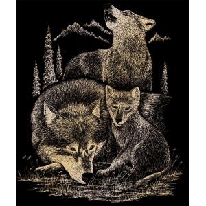 "Royal & Langnickel® Engraving Art Set Gold Foil Wolves; Board Size: 8"" x 10""; Color: Metallic; (model GOLF18), price per set"