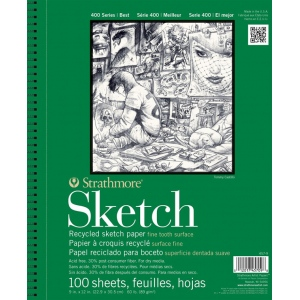 "Strathmore® 400 Series 3.5"" x 5"" Wire Bound Recycled Sketch Pad: Wire Bound, White/Ivory, Pad, 100 Sheets, 3 1/2"" x 5"", Recycled Sketch, 60 lb, (model ST457-3), price per 100 Sheets pad"