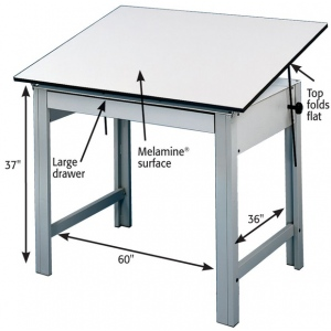 "Alvin® DesignMaster Table Gray Base White Top 37.5"" x 72""; Angle Adjustment Range: 0 - 45; Base Color: Black/Gray; Base Material: Steel; Height: 37""; Top Color: Black/Gray; Top Material: Melamine; Top Size: 37 1/2"" x 72""; (model DM72ND), price per each"