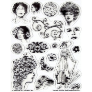 "Hot Off the Press Clear Acrylic Stamp Set Vintage Ladies; Material: Acrylic; Mounted: No; Size: 5 1/2"" x 7""; (model HOTP1015), price per each"