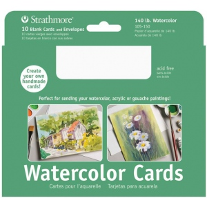 "Strathmore® 5 x 6.875 Watercolor Cards and Postcards 10-Pack; Color: White/Ivory; Envelope Included: Yes; Quantity: 10 Cards; Size: 5"" x 6 7/8""; Texture: Cold Press; Type: Watercolor; Weight: 140 lb, 80 lb; (model ST105-150), price per 10 Cards"