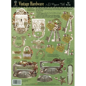 "Hot Off the Press 3-D Papier Tole Die Cuts Vintage Hardware; Color: Multi; Size: 8 1/2"" x 11""; (model HOTP8028), price per each"