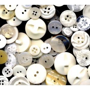 "Buttons Galore & More Button Bonanza Grab Bag White: White/Ivory, Plastic, Round, 3/8"" - 1"", (model BB20), price per each"