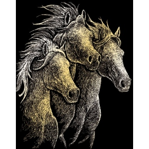 "Royal & Langnickel® Engraving Art Set Gold Foil Horses; Board Size: 8"" x 10""; Color: Metallic; (model GOLF20), price per set"