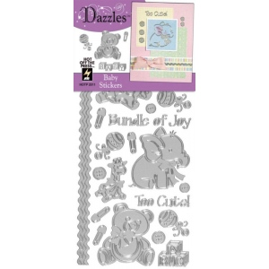 """Dazzles™ Stickers Baby Silver: Metallic, 4"""" x 9"""", Outline, (model HOTP2011), price per each"""