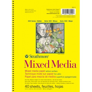 "Strathmore® 300 Series 5.5 x 8.5 Mixed Media Drawing Pad; Binding: Wire Bound; Color: White/Ivory; Format: Pad; Quantity: 40 Sheets; Size: 5 1/2"" x 8 1/2""; Weight: 90 lb; (model ST362-5), price per 40 Sheets pad"