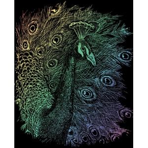 "Royal & Langnickel® Engraving Art Set Rainbow Foil Peacock; Board Size: 8"" x 10""; Color: Multi; (model RAIN14), price per set"