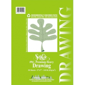 "Seth Cole 11"" x 14"" Premium Heavy Drawing Paper Pad: Wire Bound, White/Ivory, Pad, 30 Sheets, 11"" x 14"", 110 lb, (model SC94B), price per 30 Sheets pad"