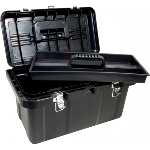 "Heritage Arts™ Large Art Tool Box: Black/Gray, Plastic, 10 1/2""d x 19 1/4""w x 11""h, (model HPB1911), price per each"