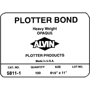 "Alvin® Heavyweight Opaque Plotter Bond 100-Sheet Pack 18 x 24; Color: White/Ivory; Format: Sheet; Quantity: 100 Sheets; Size: 18"" x 24""; (model 5811-8), price per 100 Sheets"